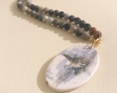 RESERVED FOR MOLLY- Beaded Necklace with Acrylic Painted Pendant by Lindsay Ghata