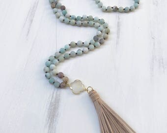 Beaded Tassel Knotted Necklace with Aventurine Beads, Cream Chalcedony Clover Charm & Taupe Tassel