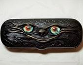 Black Clam Shell Leather Hard Case for Eyeglass Sunglasses Elder Glasses. Monster face leather case.
