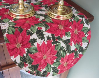 """Red Poinsettia Table Runner 36"""" Reversible Christmas Red Table Runner Christmas Poinsettia Table Runner Red and Gold Holiday Table Decor"""