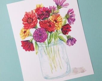 Zinnias in Mason Jar PRINT