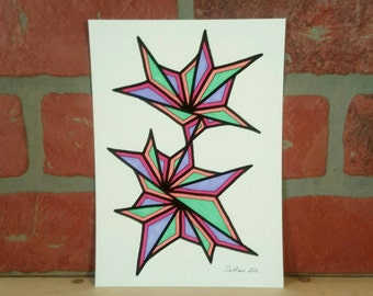 5 X 7 Original freehand drawing marker on watercolor paper NOT a print modern home decor small affordable art abstract contemporary colorful