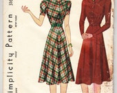 Vintage 1939 Simplicity 3162 Sewing Pattern Misses' Dress Size 16 Bust 34