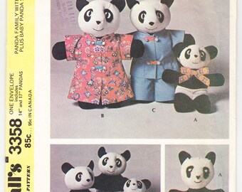 Vintage 1972 McCall's 3358 UNCUT Craft Sewing Pattern Panda Family With Clothes Plus Baby Panda Sock Toy
