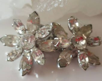 Vintage Floral Rhinestone Clip Earrings