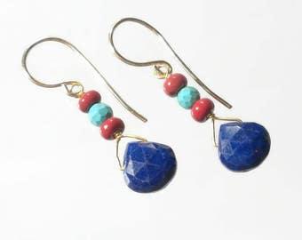 Lapis Earring Lapis Lazuli Earring Blue Drop Earring Red Blue Turquoise Earrings