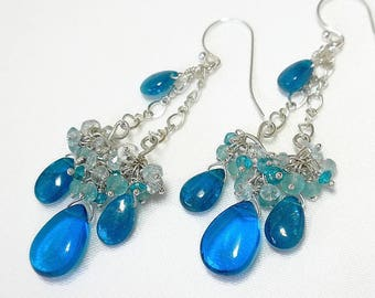 Blue Gemstone Earring, Blue Chandelier Earrings, Gemstone Cluster Earrings