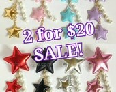 SALE! 2 Clips for 20! Triple Star Hair Clip Brooch with White Pearls- Lolita Fairy Kei Decora Kawaii Shooting Star Hair Accessory