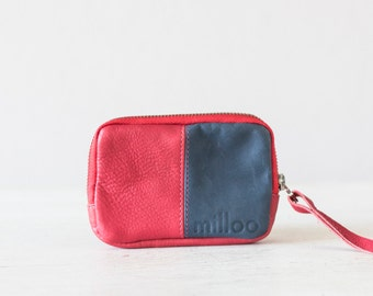 Leather coin purse in red and blue, zipper pouch zipper phone case money bag credit card zip purse - Myrto Zipper pouch