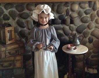 Girls Colonial Prairie Pioneer Dress Long or Short Sleeve Mop Hat Apron
