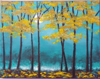 Abstract landscape painting with texture, autumn yellow tree painting, and full moon, with a teal and turquoise background. 11x14 landscape