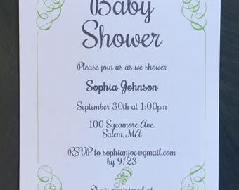 Baby Shower invitations. Swirl border custom colors