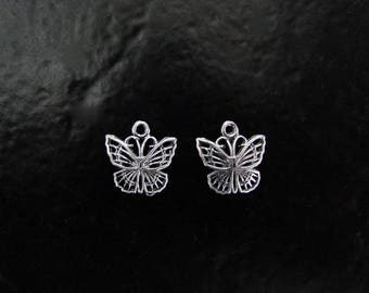 Two - Sterling Silver Butterfly Charm, Made in Israel