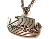 "Vintage Necklace Pewter Viking Ship Pendant 22"" Chain"
