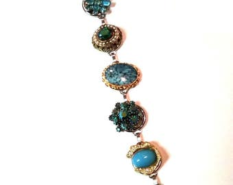 Collaged Aqua Faur Semi-Precious Stones, AB Aqua Rhinestones and Pearls Bracelet 7 1/2 inches