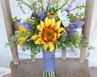Sunflower Wedding Bouquet | Yellow Gold and Lavender Purple | Boho Wispy Wildflower Bouquet | SG-1010