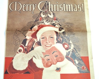 Antique 1936 Christmas newspaper grocery ad, Stewart MN, recipes, tips, Red White food store ad, food sale