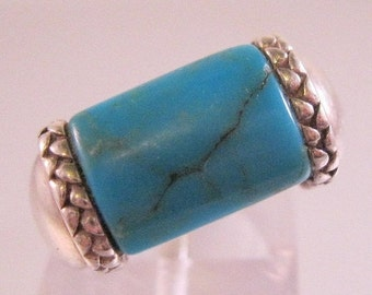 SALE NOW ON Ends 2/27/16 Turquoise Sterling Silver Ring Size 6 Vintage Jewelry Jewellery