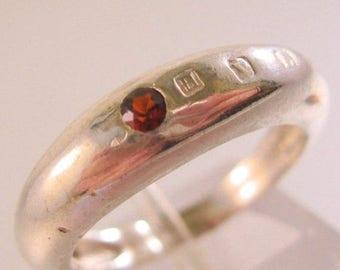 SALE ON Ends 4/30 Genuine Garnet Sterling Silver Band Signed HVL Size 6 Vintage Jewelry Jewellery