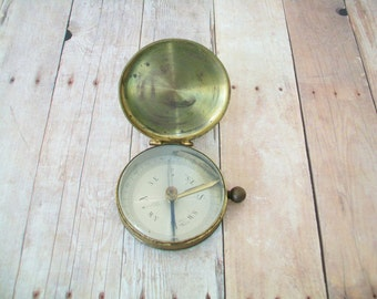 French Compass, 1940s or earlier, brass, Made in France