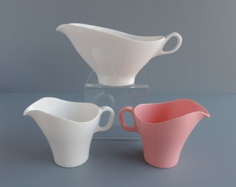 Vintage Boontonware Melamine Serving Pieces:  White Gravy Boat 3610, White or Pink Somerset Creamer 6521-01, Mid-Century Melmac Replacements