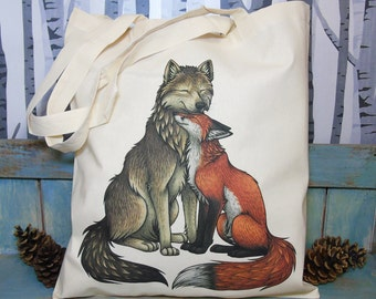 Wolf & Fox Illustration Eco Tote Bag ~ 100% Cotton Long Handles