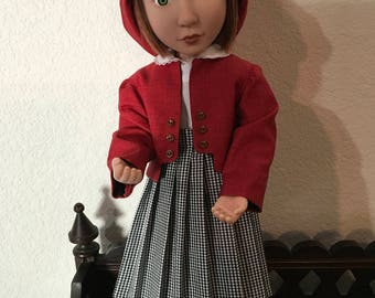 Pleated Skirt with blouse hat and Jacket for 16 inch doll