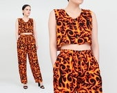 Vintage 90s Fire Flames 2 Piece Set   Novelty Print Cropped Tank Top   Cyber Club Kid Rave   High Waist Jogger Pants   Crop Top   Small XS S