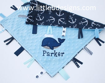 Navy Anchor Minky with Light Blue Tag Blanket  Ribbon Lovey - Personalized with Whale Applique