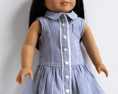 Yacht Club Dress for 18-inch dolls such as American Girl in blue and white cotton pinstripe