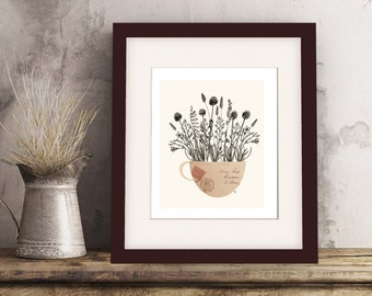 "Still Life Folk Art Collage - Giclee Print, ""Vintage Wild Flowers in Cup"""