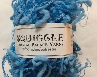 Sale - Crystal Palace Yarns Squiggle #4572 - Blue Grotto - Great CarryAlong! - PigTail Eyelash