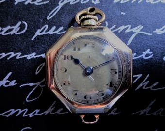 Antique Art Deco Ladies Gold Convertible Watch From The 1920's For Repair or Steampunk Supply Non-working