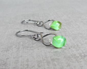 Leaf Green Earrings, Green Lampwork Earrings, Dark Silver Wire Dangles Green, Lightweight Dangles, Sterling Silver Oxidized Wire Earrings
