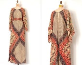 vintage 1970s dress / hand blocked 70s indian cotton angel sleeve maxi dress / Harvest Moon