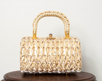 vintage 1960s handbag / holiday gold metallic 60s handbag / Braided Gold