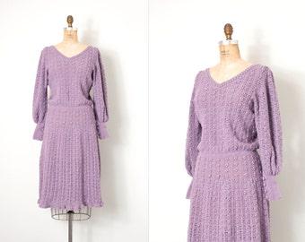 vintage 1970s dress / lilac purple 70s crochet dress / small medium s m