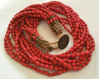 Antique Nepalese Nagaland Hill Tribe 10 strand Hill Coral necklace