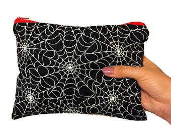 Spider web Zipper Pouch - Cosmetic Purse - Makeup Bag - Fully Lined zipper Pouch -Bag - Purse