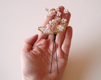 Delicate Kanzashi Hair Ornament Floral  Pearl Design