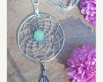 ON SALE AVENTURINE Dream Dream catcher Necklace with Aventurine and Sterling Silver, dreamcatcher necklace, silver aventurine necklace
