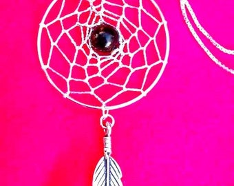 MYSTIC Dream catcher necklace with Black onyx and sterling silver, dreamcatcher necklace, silver dream catcher necklace , black onyx