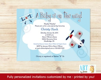 Airplane Little Aviator Boy Transportation Baby Shower Invitations | Digital Personalized PDF or JPG file bs-010