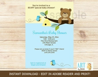 Honey Bear and Bumble Bee Boy Baby Shower | Editable Text Adobe Acrobat Print your own INSTANT DOWNLOAD bs-051