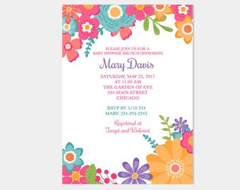 Tropical Flowers Floral Baby Shower Invitations | Personalized PDF or JPG Print your Own Design 99a