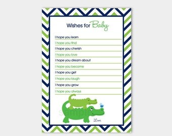 Cute Preppy Alligator Navy and Green Chevron Wishes for Baby Shower Advice Card, Printable JPG INSTANT DOWNLOAD bs-63