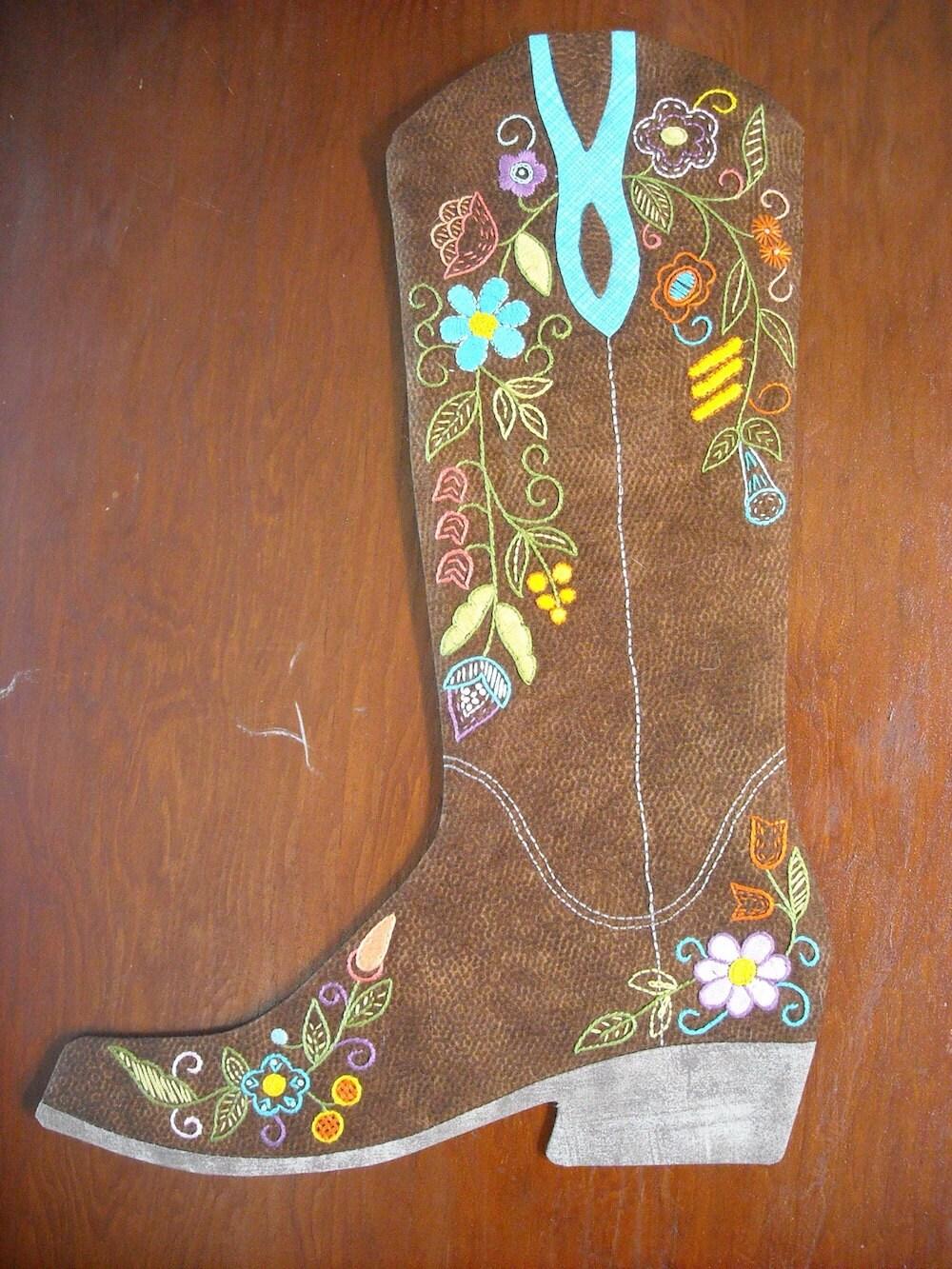 Cowboy Boot Christmas Stockings Pattern 2015 2016 Print