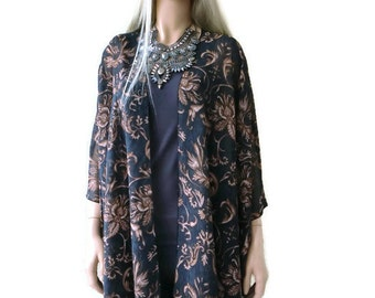 Boho Kimono cardigan - Brown Black/charcoal-Tall Length-Damask print-chiffon kimono--Ruana-Many colors