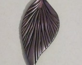 Leaf Pendant - Black with Pink
