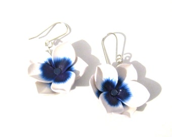 Flower Earrings - Polymer Clay Floral Jewelry - Blue Eyed Tulips - Sterling Silver - Spring Wedding - Bridal Jewelry - Bridesmaid Gift